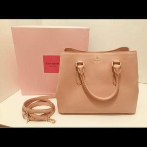 NWT Kate Spade Evangelie Pink Gold Leather Satchel